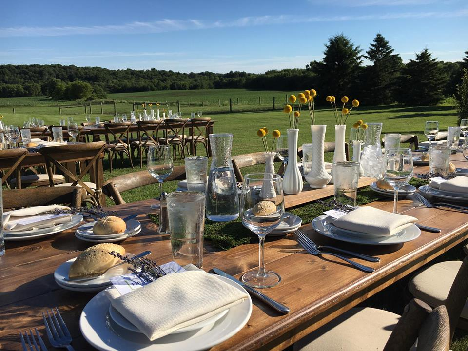 Harvest Tables with Crossback farm chairs