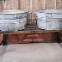 Double Galvanized Tub with Wood Stand