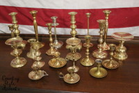 Brass Candlesticks Qty 21