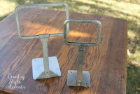 "Metal Vintage Stands Large 10"" (Card insert size 5 1/2"" x 3 1/2"")  Qty. 6 Small 9""(Card insert size 3 1/2"" x 3"") Qty. 8"