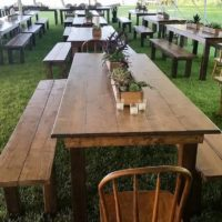 Harvest Tables And Benches Perfect For Any Outdoor Gathering Or Event.